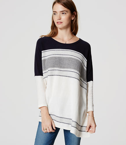 Image of Striped Poncho Sweater