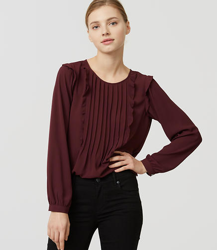Image of Pintucked Ruffle Blouse