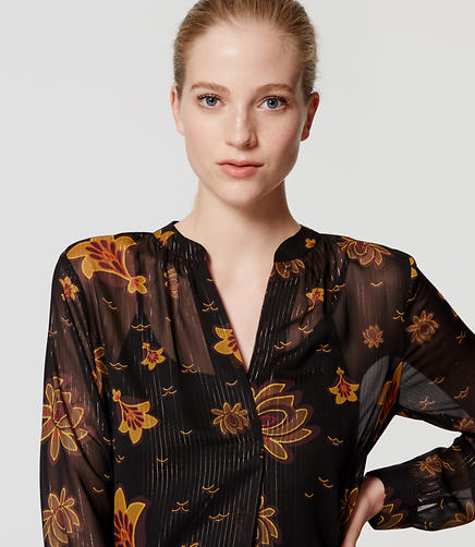 Image of Shimmer Floral Split Neck Blouse