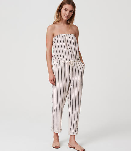 Image of LOFT Beach Striped Strapless Jumpsuit