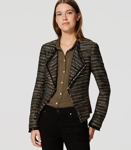 Image of Petite Draped Fringe Tweed Jacket