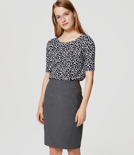 Image of Petite Seamed Scuba Pencil Skirt