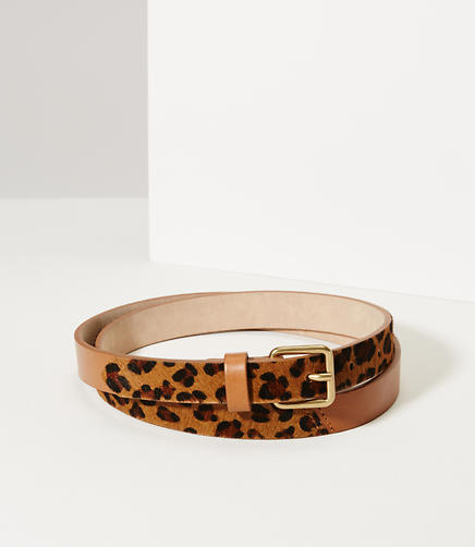 Image of Leopard Print Haircalf Leather Belt