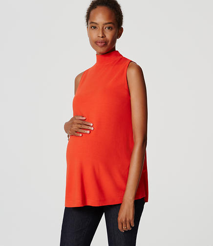 Image of Maternity Sleeveless Mockneck Top