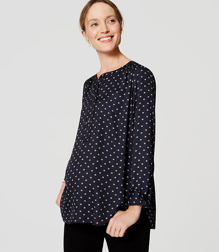 Image of P Wide Placket Henley Blouse - Geo