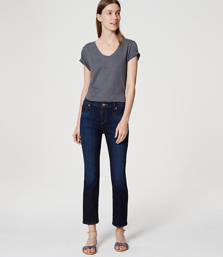 Image of Petite Flare Crop Jeans in Vivid Dark Indigo