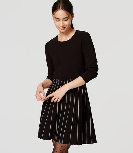 Image of Striped Skirt Sweater Dress