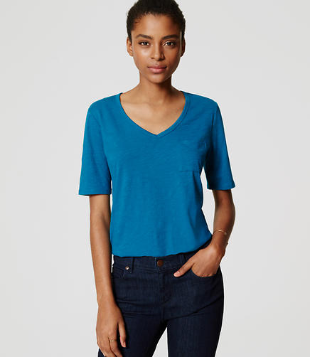 Image of Petite Vintage Soft V-Neck Pocket Tee