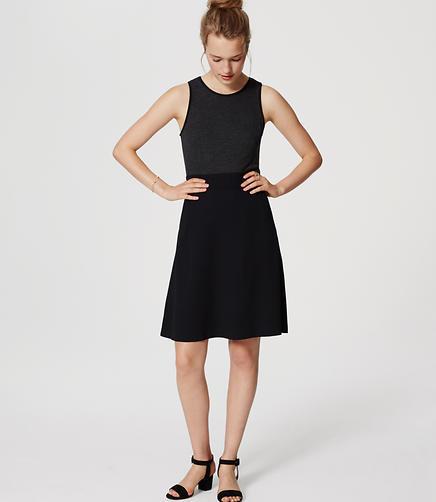 Image of Petite Mixed Media Flare Dress