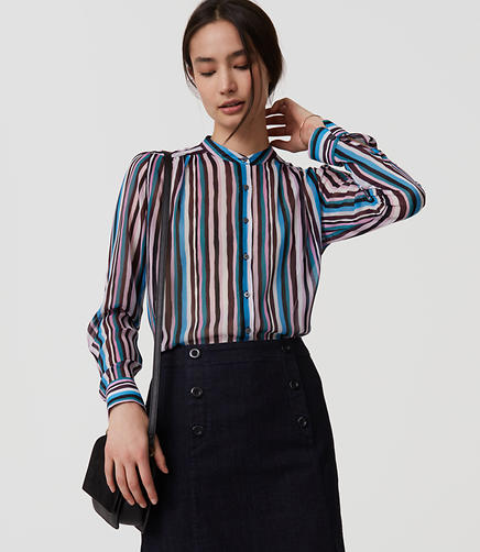 Image of Striped Puff Sleeve Blouse