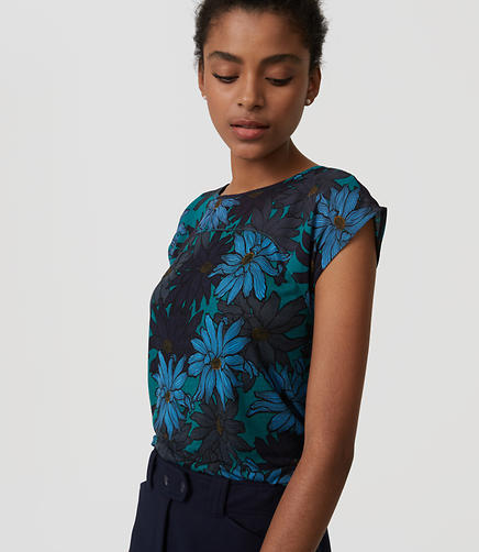 Image of Floral Woven Yoke Tee