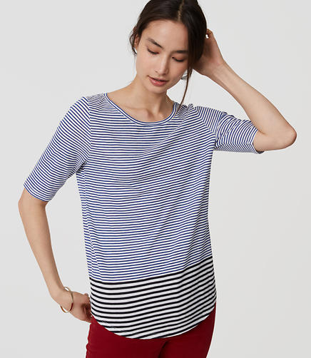 Image of Striped Ballet Neck Tee