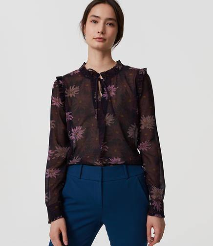 Image of Floral Ruffle Tie Neck Blouse