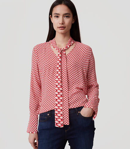 Image of Mixed Floral Tie Neck Blouse