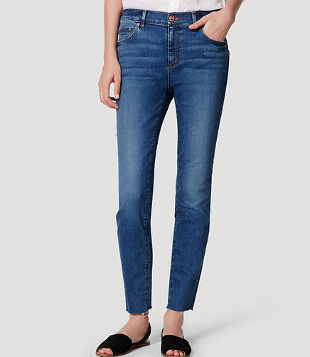 Image of Modern Frayed Skinny Ankle Jeans in Medium Enzyme Wash