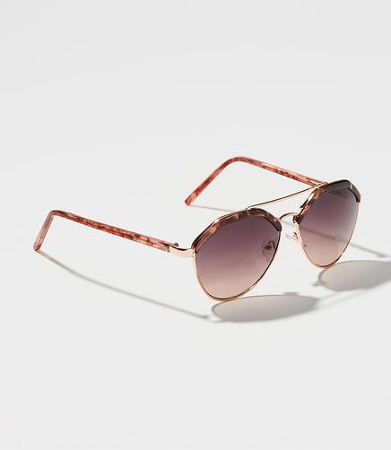 Tortoiseshell Print Retro Aviator Sunglasses