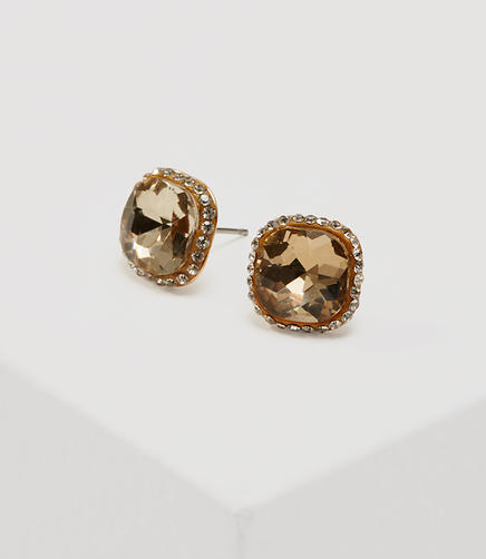 Image of Square Pave Stone Stud Earrings