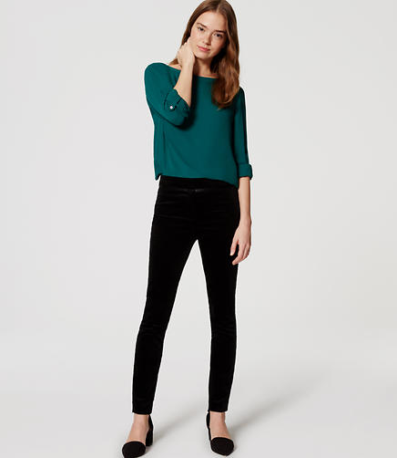 Image of Tipped Skinny Velvet Pants
