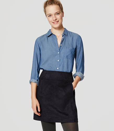 Image of Petite Faux Suede Shift Skirt