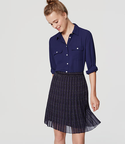 Image of Petite Plaid Pleated Skirt