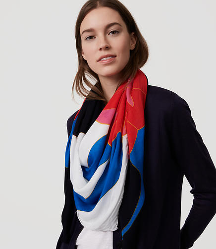Image of Block Floral Square Scarf