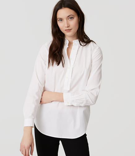 Image of Ruffle Henley Shirt