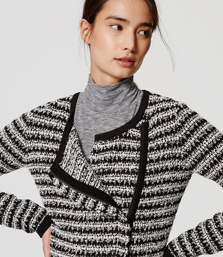Image of Striped Knit Moto Jacket