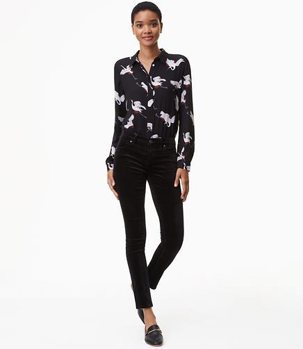 Petite Skinny Velvet Pants in Modern