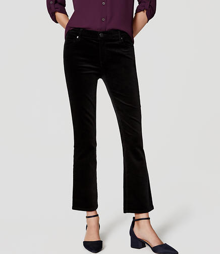Image of Petite Velvet Flare Crop Pants