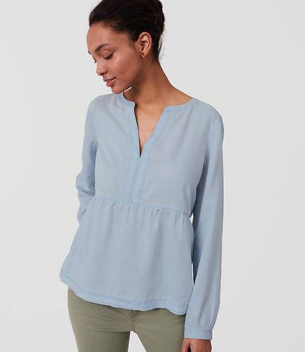 Image of Chambray Peplum Softened Shirt