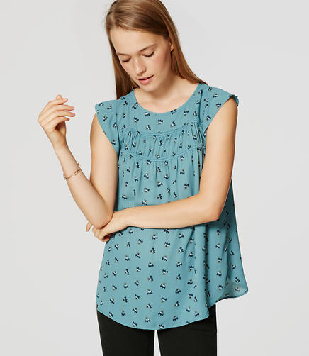 Image of Floral Smocked Flutter Top