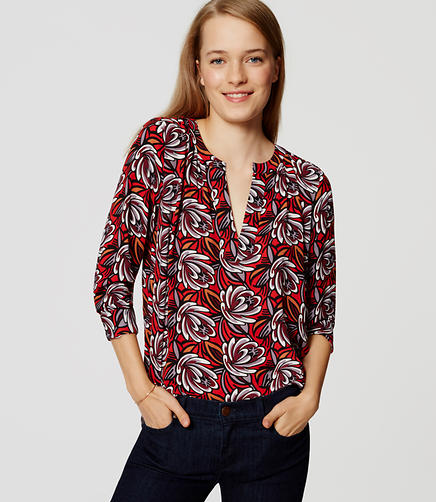 Image of Petite Shadow Floral Split Neck Tunic