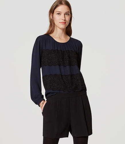 Image of Petite Chantilly Lace Stripe Blouse