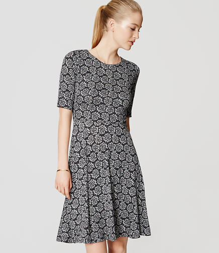 Image of Petite Paisley Short Sleeve Flare Dress