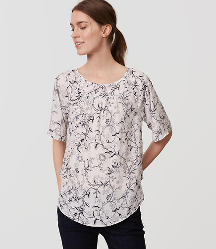 Image of Sketched Floral Yoke Swing Top