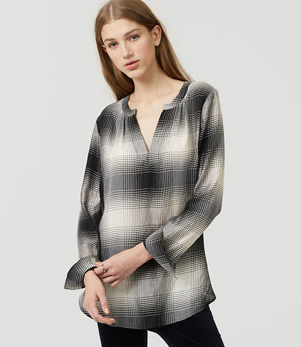 Image of Petite Plaid Split Neck Shirt
