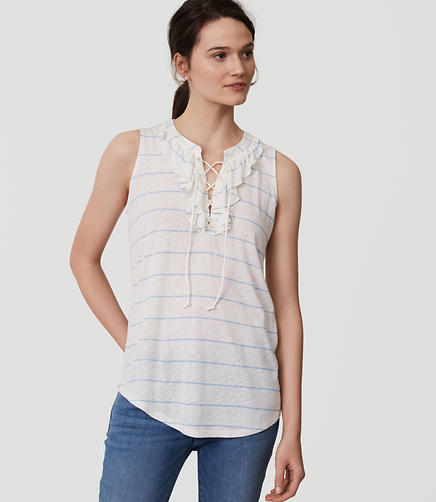 Image of Striped Lace Up Ruffle Shell
