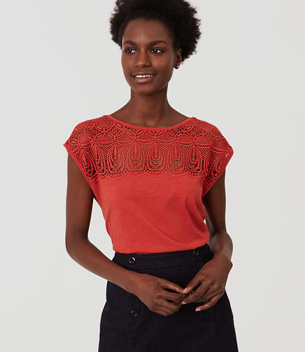 Image of Mosaic Lace Yoke Tee