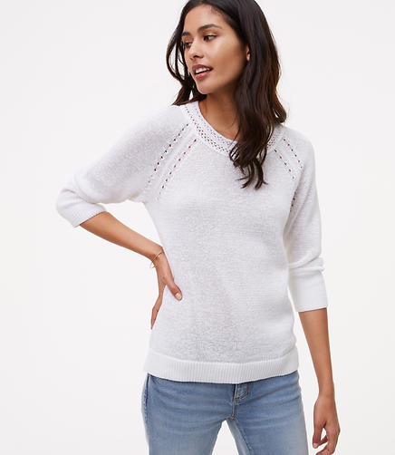 Image of Pointelle 3/4 Sleeve Sweater