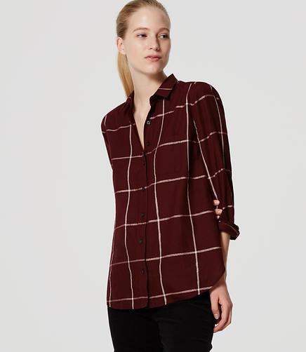 Image of Shimmer Plaid Softened Shirt