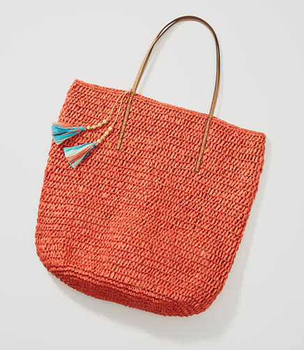 Image of Tasseled Straw Tote
