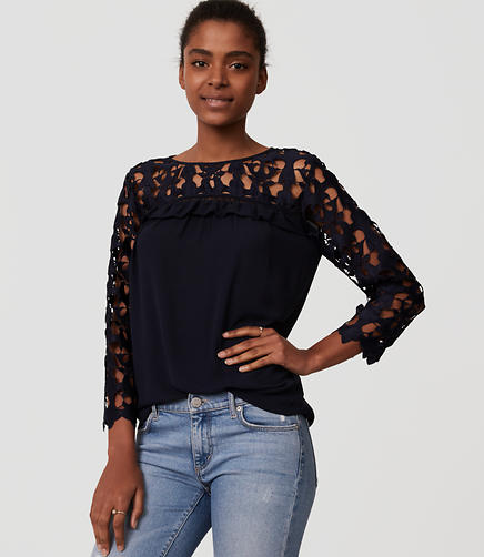 Image of Cutout Lace Blouse