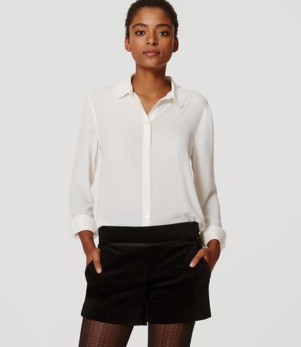 Image of Petite Velvet Tuxedo Shorts