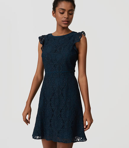 Image of Petite Lace Flutter Dress
