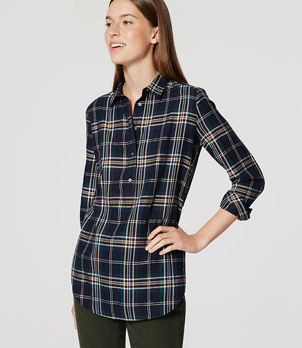 Image of Shimmer Plaid Tunic Softened Shirt