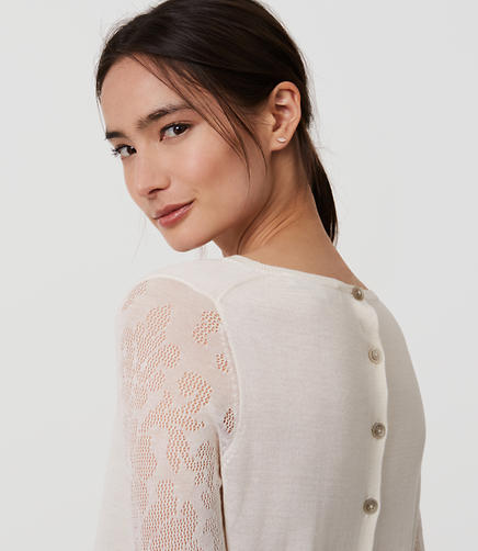 Image of Lace Sleeve Button Back Sweater