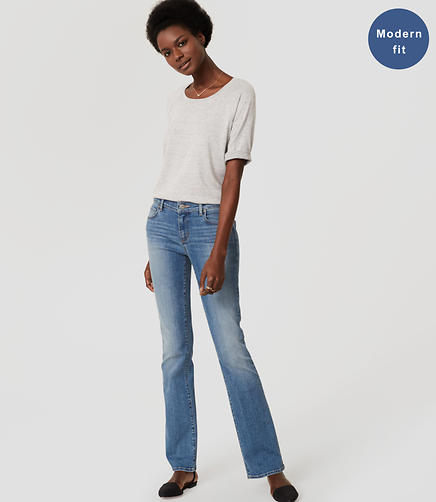 Image of Modern Boot Cut Jeans in Authentic Light Indigo Wash