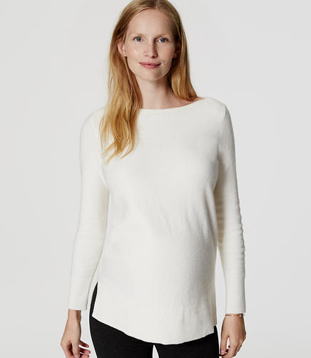 Image of Maternity Boatneck Tunic Sweater