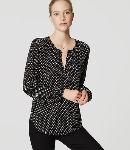 Image of Dotted Mixed Media Lantern Blouse