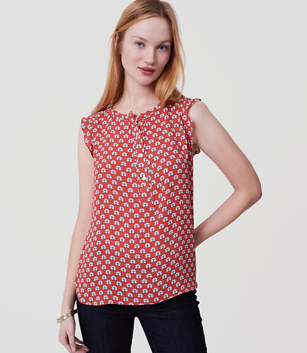 Image of Bloom Ruffle Henley Shell